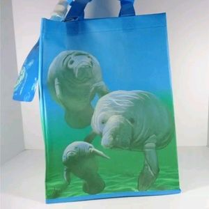 Handbags - NAUTICAL MANATEES BEACH TOTE BAG AND BOTTLE